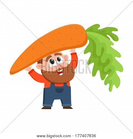 Funny farmer, gardener character in overalls holding huge, giant carrot over head , cartoon vector illustration isolated on white background. Comic farmer character with giant carrot, design elements
