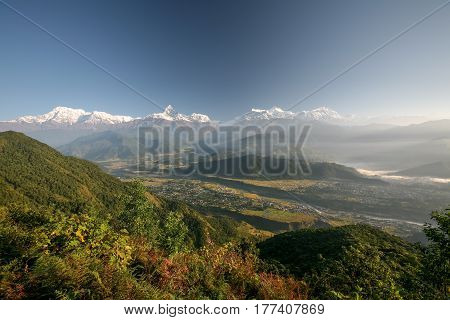 View at Annapurna mountain range from Sarangkot view point near Pokhara in Nepal