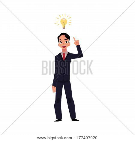 Young businessman having idea, light bulb as symbol of business insight, cartoon vector illustration isolated on white background. Businessman, employee has just got idea, insight, inspiring thought