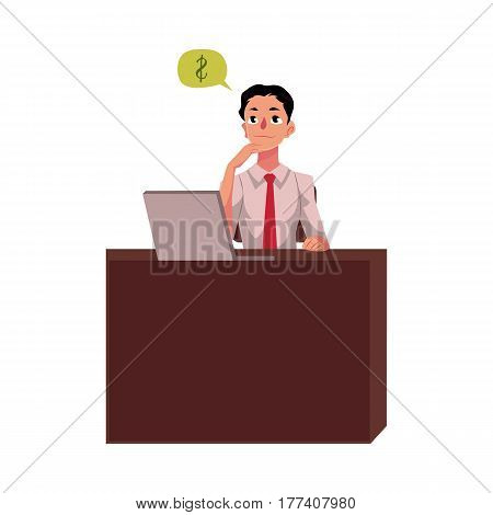 Young businessman, manager, financial analyst at office desk, thinking about money, cartoon vector illustration isolated on white background. Businessman, worker, employee working in office