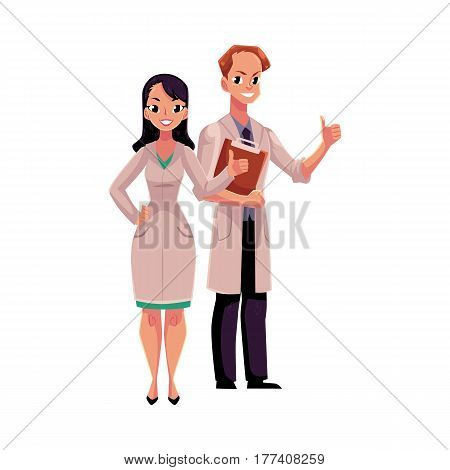 Male and female doctors in white medical coats showing, giving thumb up, cartoon vector illustration isolated on white background. Full length portrait of two doctors showing thumb up, okay sign