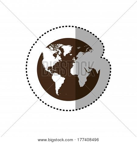 brown planet earth with continets icon, vector illustration design