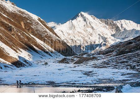 View to Pumori mount in Gokyo valley in Everest region Nepal