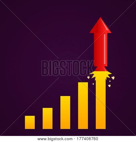 Increasing graph with rocket. Growth business concept