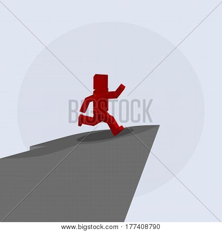 Silhouette of a man jumping from a mountain, taking risks.