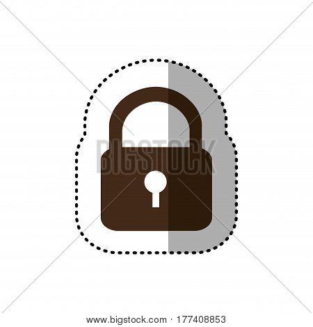 brown metal padlock closed icon, vector illustration design