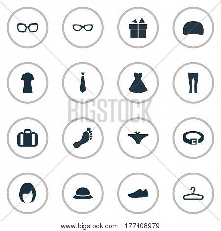 Vector Illustration Set Of Simple Dress Icons. Elements Panties, Hat, Rack And Other Synonyms Eyeglasses, Leather And Shoes.