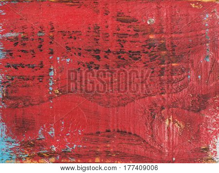 Red painted old rustic shabby wood texture and background