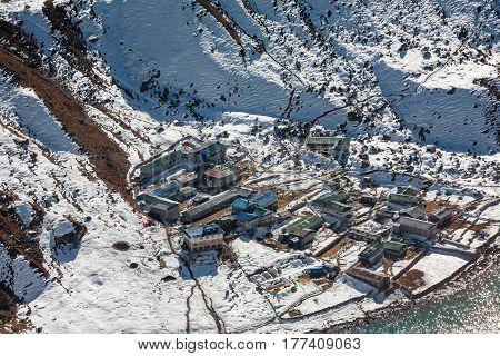 View to Gokyo village in Everest region Nepal