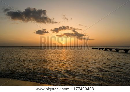 Sunset over the Caribbean on the Island of Dominica