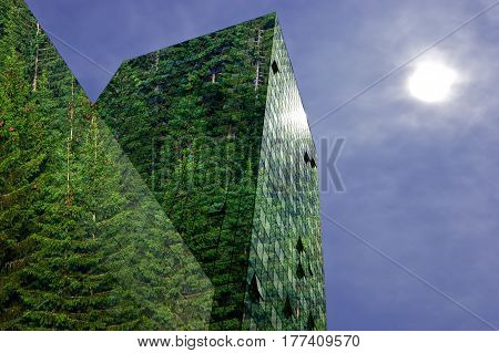 Green renewable energy in the city: modern building covered with spruce forest. Sustainable energy pollution and urbanity concept with copy space.