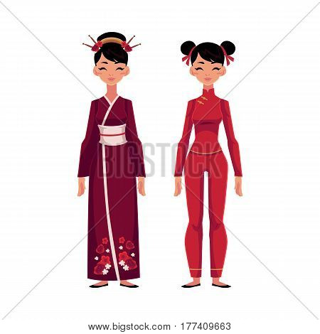 Chinese women in traditional national costumes - long cheongsam dress, red tunic and pants suit, cartoon vector illustration isolated on white background. Woman from China in Chinese national clothes