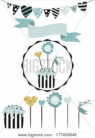Celebratory cake with set of decoration toppers candles and garlands with flags. Vector hand drawn illustration scandinavian style in mint colors with gold glittering elements.