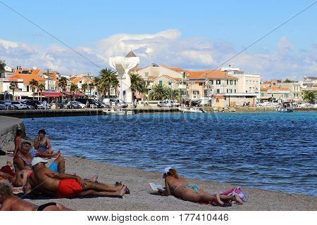VODICE, CROATIA - SEPTEMBER 6, 2016: It is a view of the central part of the seaside resort town from the side of the city beaches.