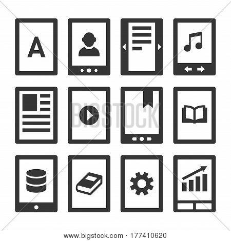 Digital E-book Reader Icons Set. Vector illustration