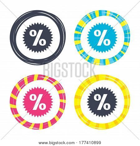 Discount percent sign icon. Star symbol. Colored buttons with icons. Poker chip concept. Vector