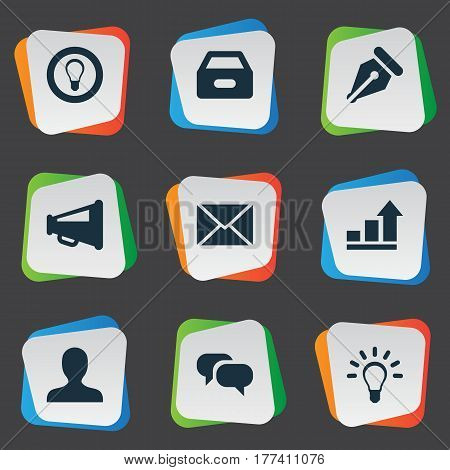 Vector Illustration Set Of Simple Business Icons. Elements Anonymous, Progress, Dossier And Other Synonyms Mind, Light And Increase.