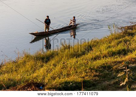 November 17, 2013 - Men Are Fishing On Rapti River At The Border Of Chitwan National Park, Nepal