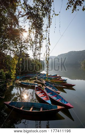 Colorful Boats In Phewa Lake In Pokhara, Nepal