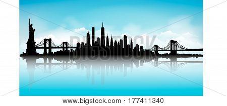 New York City Skyline blue sky with reflection