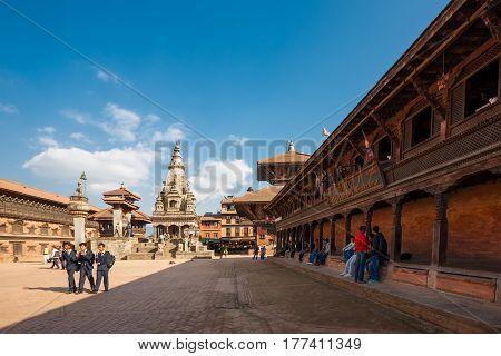 November 25 2013 - exterior of ancient city Bhaktapur Nepal