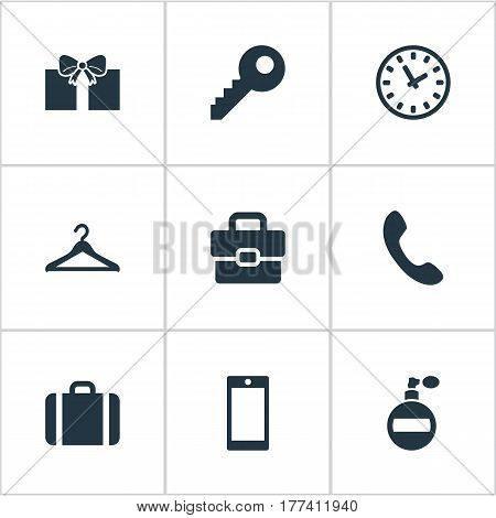 Vector Illustration Set Of Simple Instrument Icons. Elements Briefcase, Business Bag, Password And Other Synonyms Password, Time And Watch.