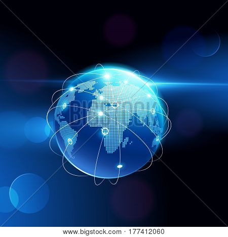 Globe network connection, Digital network background, Internet technology. Vector illustration