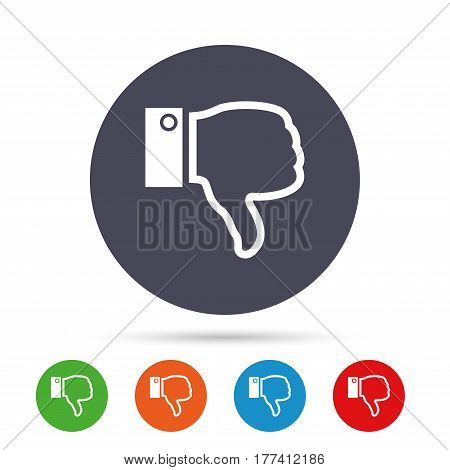 Dislike sign icon. Thumb down sign. Hand finger down symbol. Round colourful buttons with flat icons. Vector