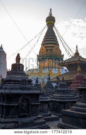 Beautiful view of the Swayambhunath temple Kathmandu Nepal