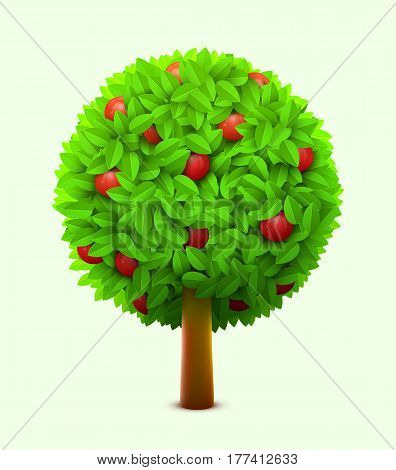 Cute apple tree with green leaves and red ripe apples. Realistic summer tree. Eco harvest concept. Vector illustration