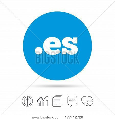 Domain ES sign icon. Top-level internet domain symbol. Copy files, chat speech bubble and chart web icons. Vector