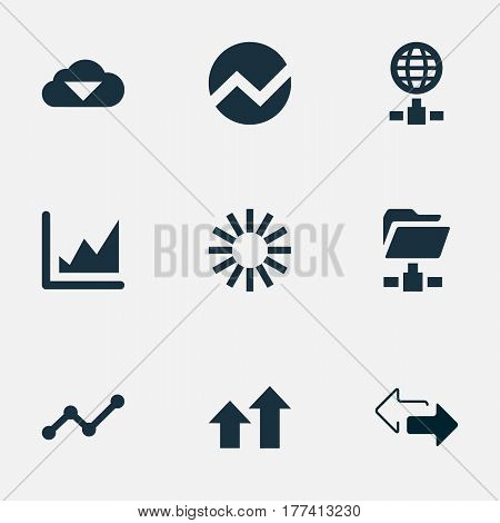 Vector Illustration Set Of Simple Data Icons. Elements Digital Documnet, Spreading Chart, Storage And Other Synonyms Two, Arrows Up And Line.