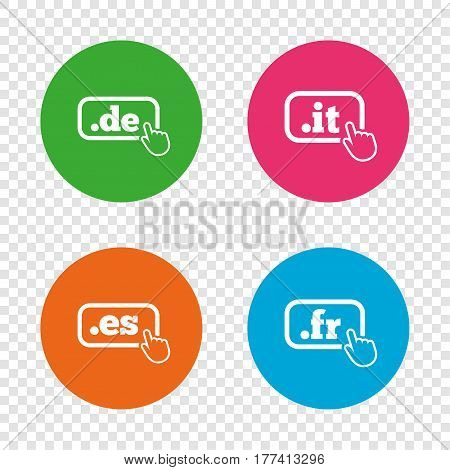 Top-level internet domain icons. De, It, Es and Fr symbols with hand pointer. Unique national DNS names. Round buttons on transparent background. Vector