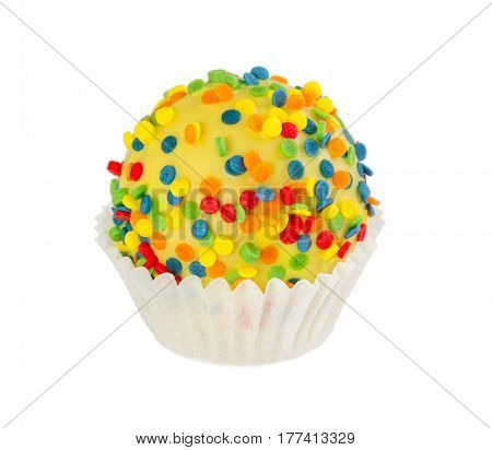 Cake Ball In Yellow Glaze With Colorful Sprinkles