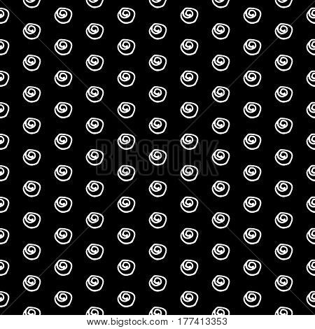 Abstract doodle pattern with hand drawn polka dots. Cute vector black and white doodle pattern. Seamless monochrome doodle pattern for fabric, wallpapers, wrapping paper, cards and web backgrounds.
