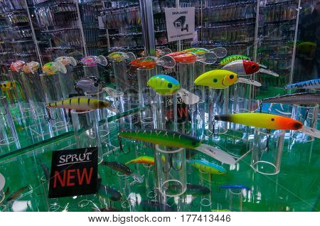 Moscow, Russia - February 25, 2017: Stand with samples of the newest fishing lures and wobblers on the special exhibition in VDNKh