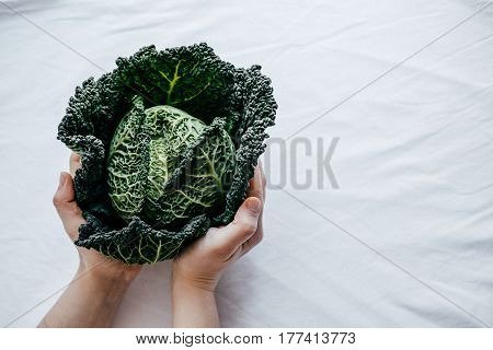 Fresh Green Kale Most Useful Vegetables In Woman Hands On White Background