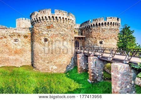 Belgrade Serbia. Kalemegdan Fortress entrance ancient Singidunum.