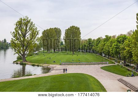 Neckarwiese Garden In Heidelberg City, Germany