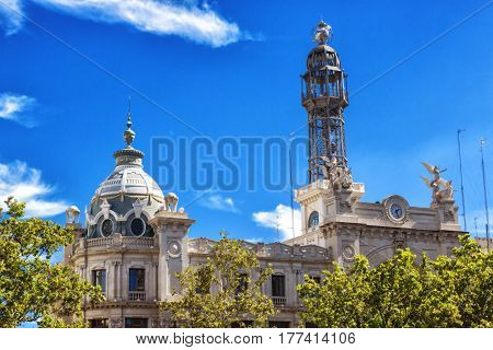 Post office with ist old transmitter on top of the building Valencia style building Spain