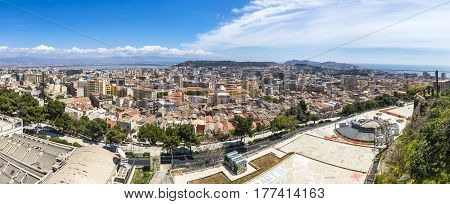 Panoramic view of Cagliari old town Sardinia island Italy. Cagliari is an ancient city now is the capital and the largest city of Italian island of Sardinia