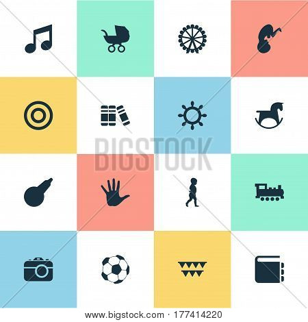 Vector Illustration Set Of Simple Baby Icons. Elements Bookshop, Fetus, Melody And Other Synonyms Melody, Holidays And Arrow.