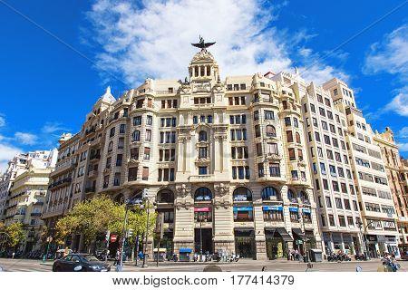 VALENCIA SPAIN - OCTOBER 1: Crossroad of Carrer de Xativa and avenue Marques de Sotelo in 2013
