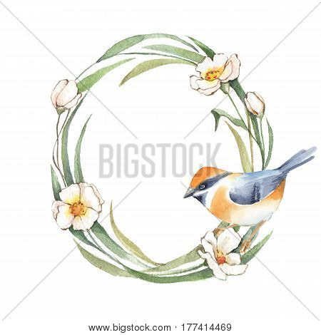 Watercolor floral wreath. Hand drawn element for design. Oval frame with bird