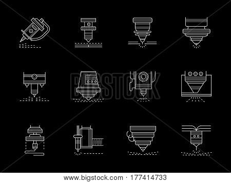 Different types of CNC lasers. Metalworking industry modern technology. Cutting, welding, melting and other processing of metal. Set of flat white line design vector icons on black.