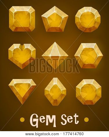 Set of realistic yellow gems of various shapes. Sapphire collection. Elements for mobile games or decoration. Vector illustration