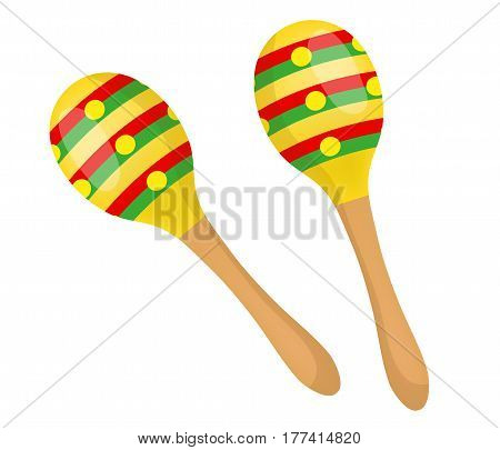 Maracas icon flat, cartoon style. Beanbag is isolated on white background. Vector illustration, clip art