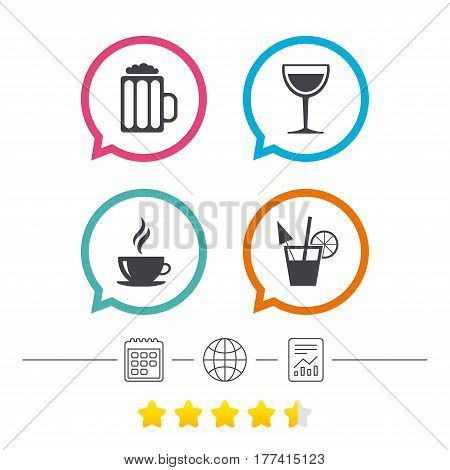 Drinks icons. Coffee cup and glass of beer symbols. Wine glass and cocktail signs. Calendar, internet globe and report linear icons. Star vote ranking. Vector