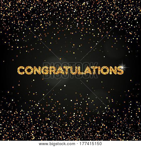 The word Congratulations with golden round confetti for your design