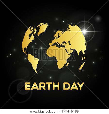 Earth day banner. April 22. Vector illustration of abstract golden earth globe for your design
